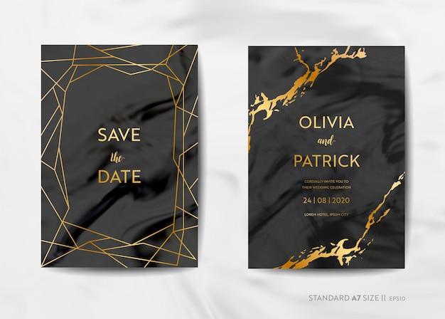 結婚式の招待カード、トレンディな大理石のテクスチャの背景とベクトルの金の幾何学的なフレームデザインのイラストで日付を保存します。