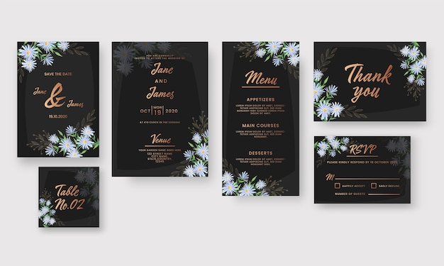 Wedding invitation cards set decorated with daisy flowers in black and bronze color.
