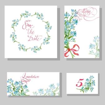Textvector 그림을 위한 장소가 있는 수채화 myosotis로 설정된 결혼식 초대 카드