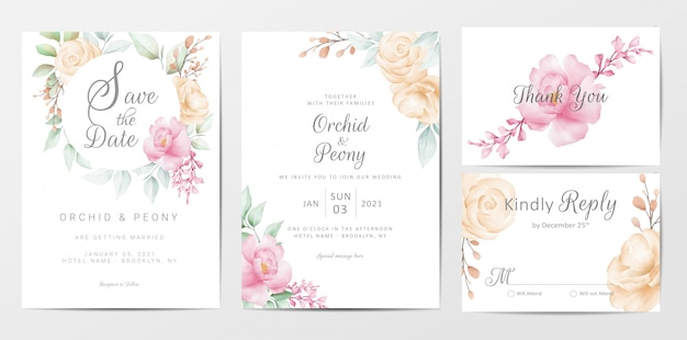 Wedding invitation cards template set of elegant watercolor flowers