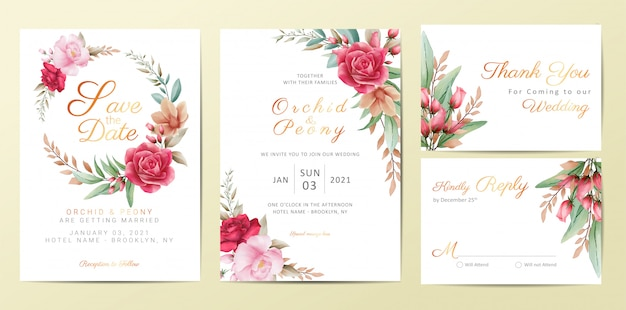 Wedding invitation cards template set with elegant flowers