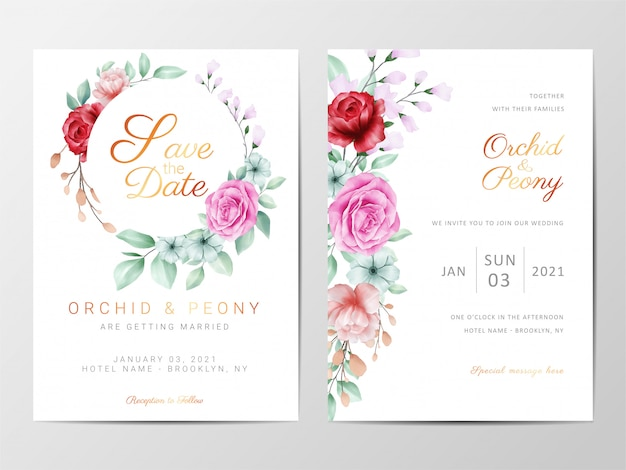Wedding invitation cards template set with flowers decorative