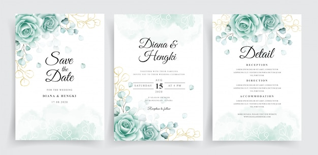 Wedding invitation cards template set with watercolor eucalyptus