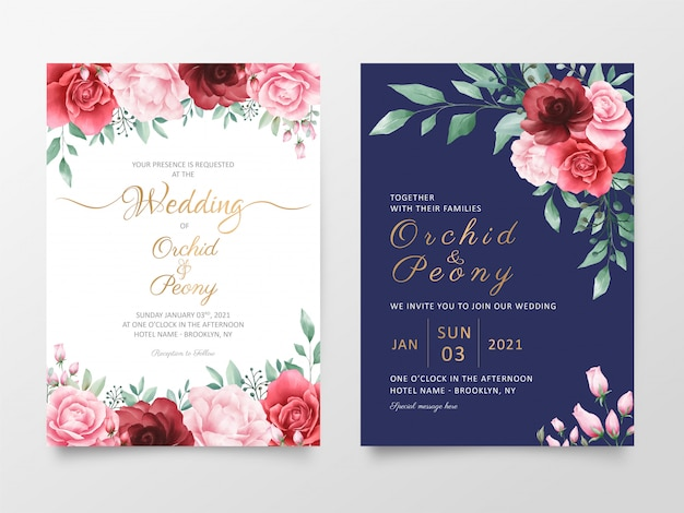 水彩花装飾入り結婚式招待状カードテンプレート