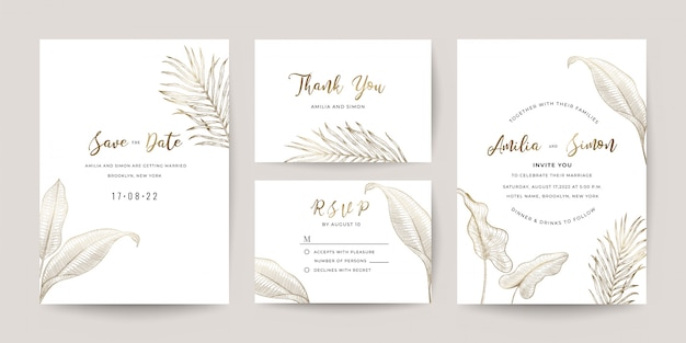 Wedding invitation cards template set.