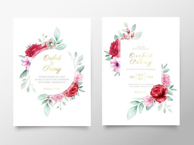 Wedding invitation cards template with watercolor floral frame