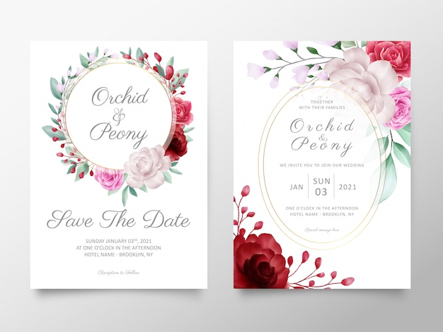Wedding invitation cards template with watercolor flowers arrangements