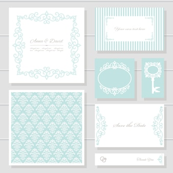 Wedding invitation cards and templates set.