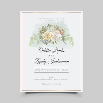Wedding invitation cards with beautiful flower