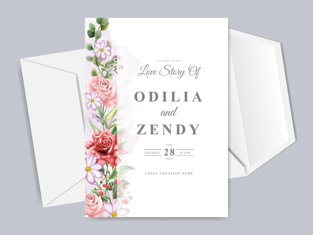 Свадебные приглашения с красивыми рисованными красными цветами