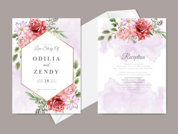 美しい手描きの赤い花の結婚式の招待状