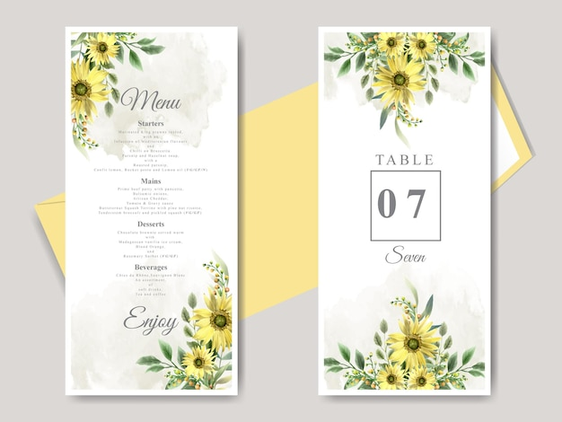 Wedding invitation cards with beautiful hand drawn sunflower