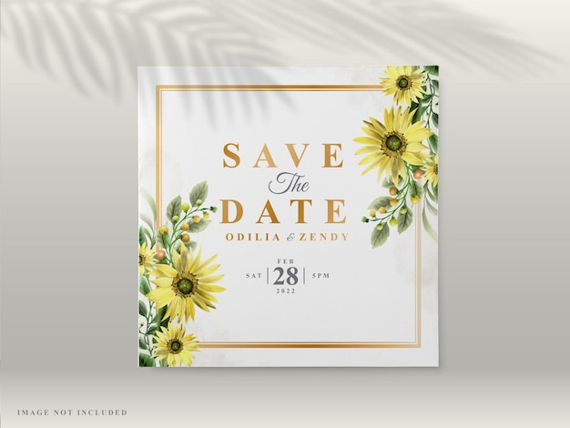 Wedding invitation cards with beautiful hand drawn sunflower