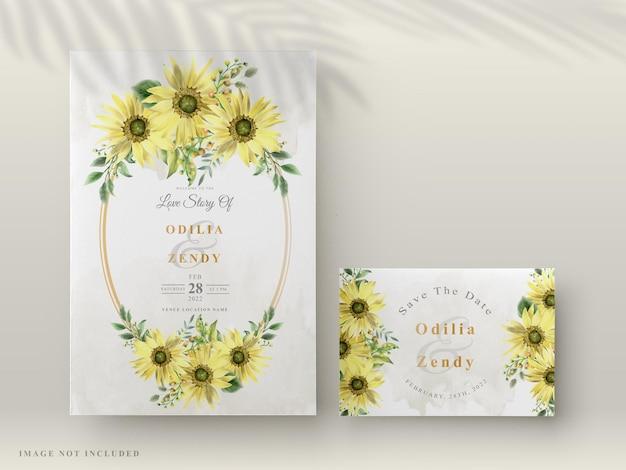 美しい手描きのひまわりと結婚式の招待状