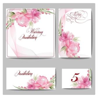 花が咲く結婚式の招待カードテンプレートベクトル