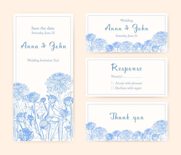 Свадебные приглашения с цветами хризантемы. различные вертикальные и горизонтальные шаблоны. монохромная иллюстрация.