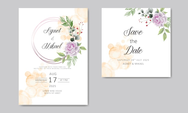 Wedding invitation cards with elegant and beautiful floral