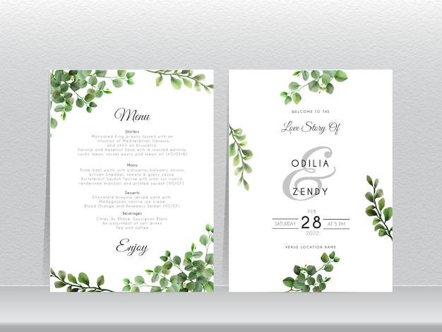 エレガントなユーカリのデザインの結婚式の招待カード