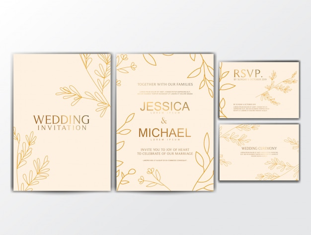 Wedding invitation cards with flower ornament