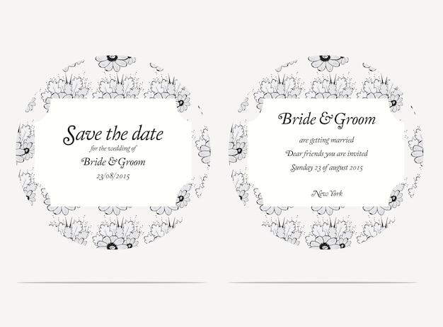 灰色の花の結婚式の招待カード