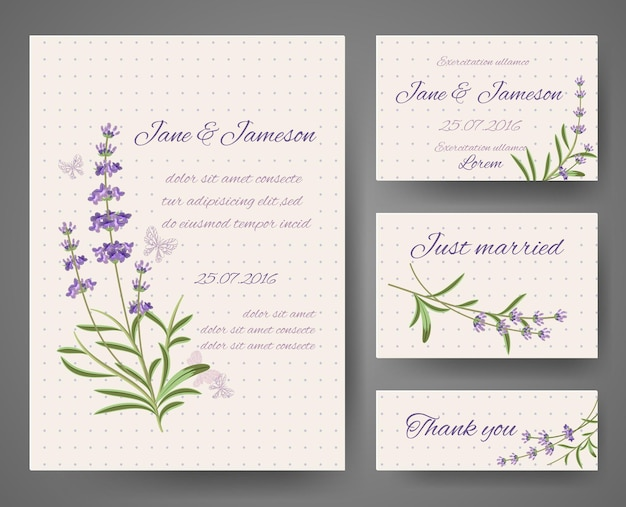 Wedding invitation cards with lavender bunches