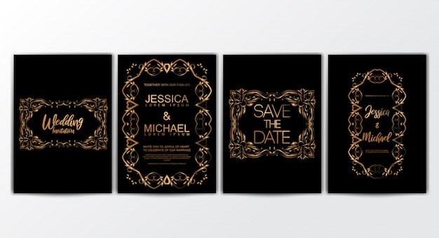 Wedding invitation cards with luxurious concept set