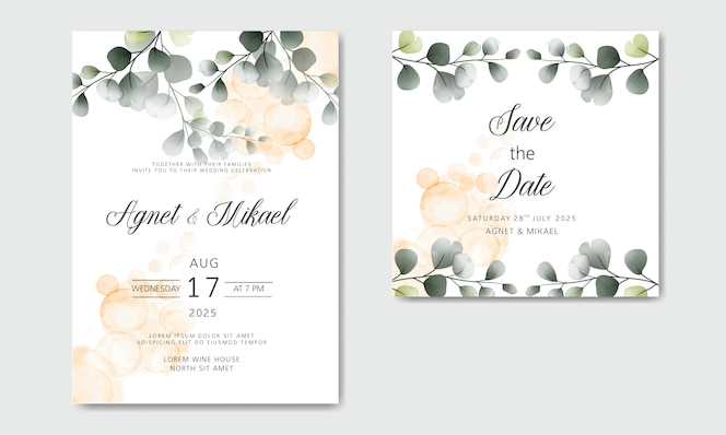 Wedding invitation cards with retro floral templates