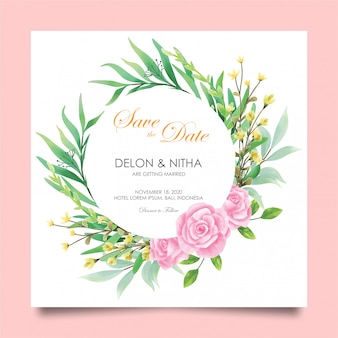 Wedding invitation cards with roses and watercolor style