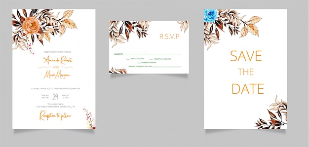 Wedding invitation cards with save the date and rsvp card