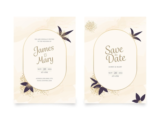 Wedding invitation cards with venue details in beige color.