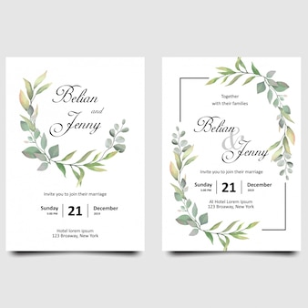 Wedding invitation cards with watercolor style leaf decorations