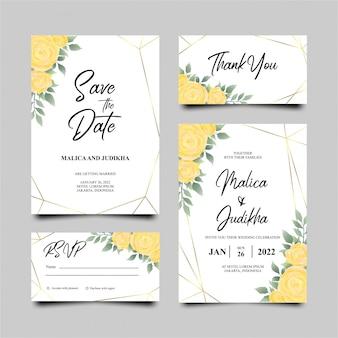 黄色いバラの結婚式の招待カード