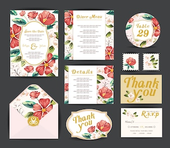 Wedding invitation cards.