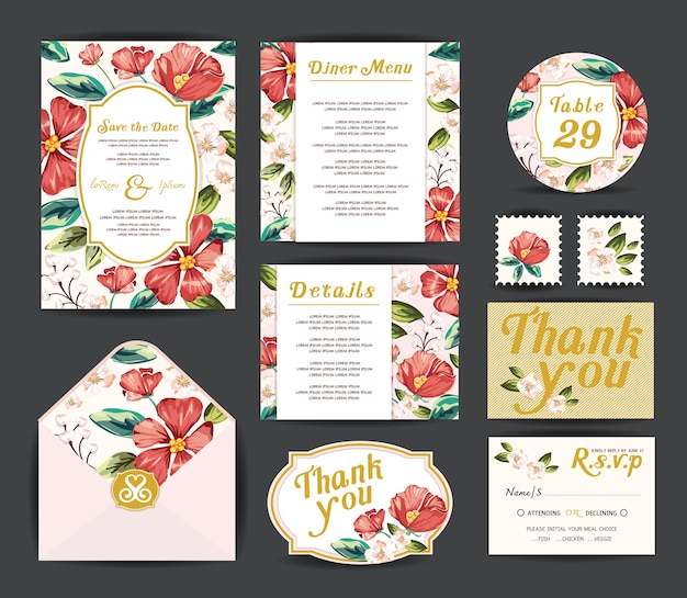 Wedding invitation cards.