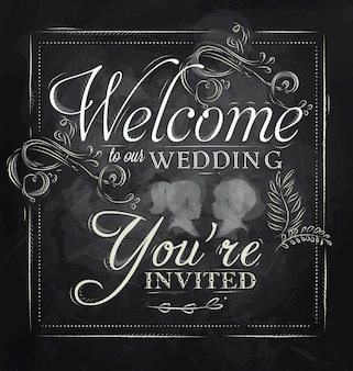 Wedding invitation chalk