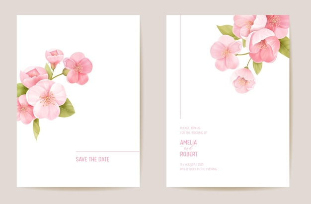 Wedding invitation cherry sakura blossom, flowers, leaves card. realistic minimal template vector. botanical save the date foliage modern poster, trendy design, luxury background