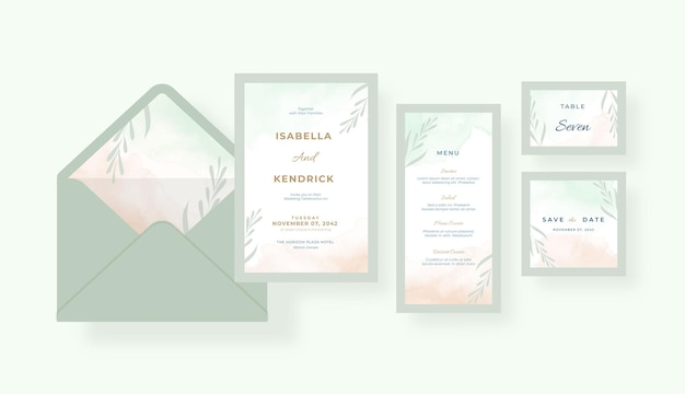 美しい水彩画の結婚式招待状コレクション テンプレート