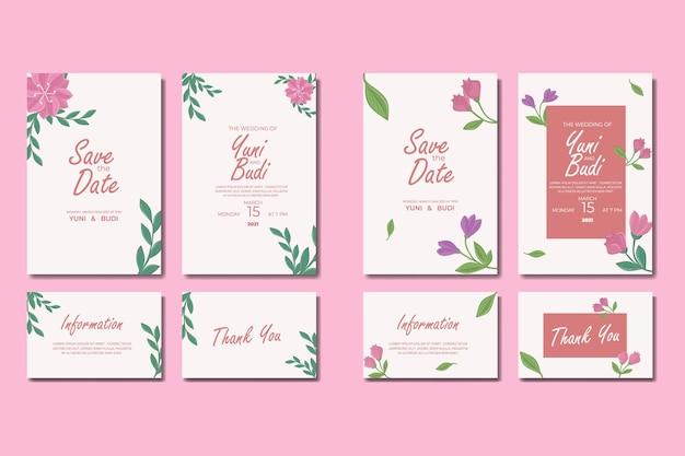 結婚式の招待状のコレクションテンプレート