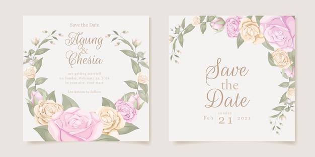 Wedding invitation concept instagram post collection