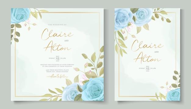 아름다운 장미와 잎 결혼식 초대 개념