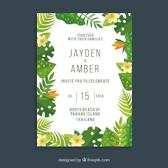 Wedding invitation concept with green leaves