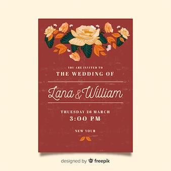 Wedding invitation concept with peony flowers