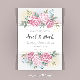 Wedding invitation concept with peony flowers