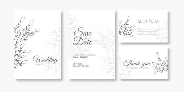 Wedding invitation cover card set with beauty berry and floral flower abstract doodle hand drawn style ornament decoration background mockup elegant template illustration vintage frame