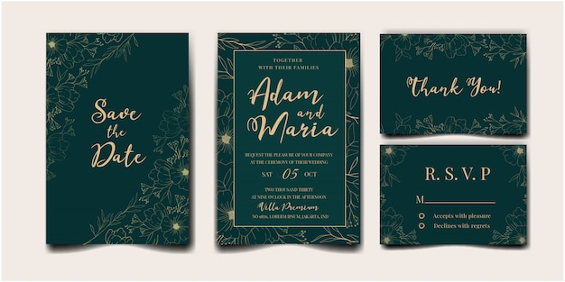 Wedding invitation cover set with beauty floral tulip flower abstract doodle hand drawn style ornament decoration