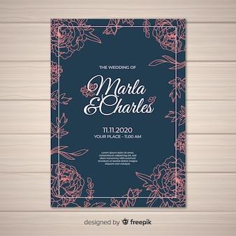 美しい牡丹の花と結婚式の招待状のカバーテンプレート
