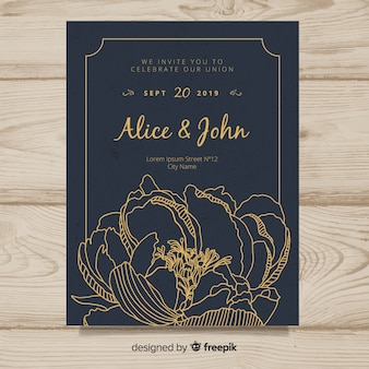 Wedding invitation cover template with beautiful peony flowers