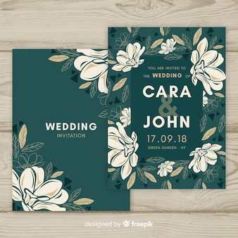Wedding invitation cover template with leaves