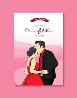 Wedding invitation cute love
