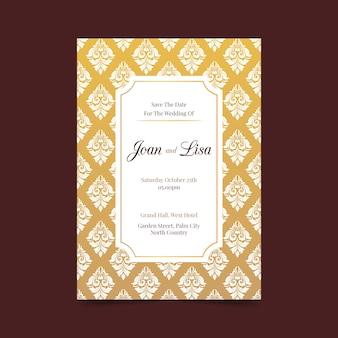 Wedding invitation in damask style